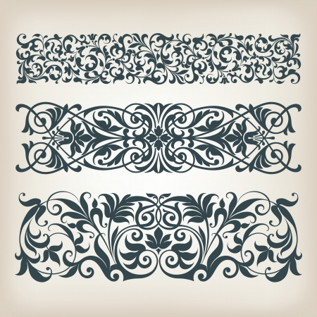 Ilustración de vector set vintage ornate border frame filigree with retro ornament pattern in antique baroque style arabic decorative calligraphy design   - Imagen libre de derechos