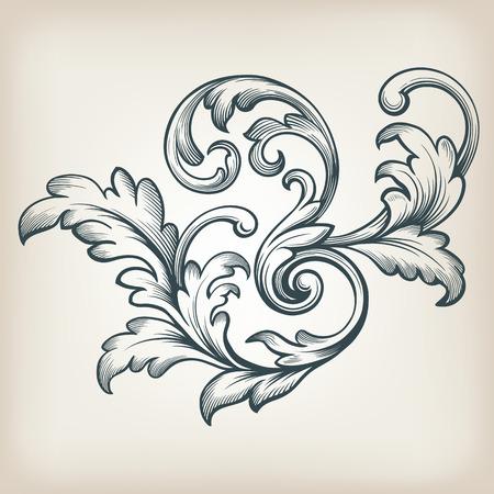 Illustration pour vintage Baroque scroll design frame engraving  acanthus floral border pattern element retro style filigree vector - image libre de droit