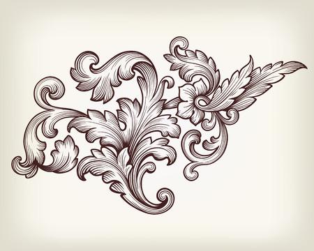 Ilustración de Vintage baroque floral scroll foliage ornament filigree engraving retro style design element vector - Imagen libre de derechos
