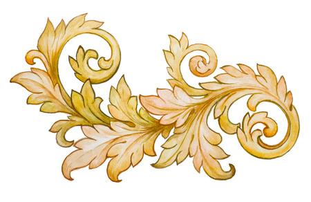 Ilustración de Vintage baroque floral scroll foliage ornament watercolor golden retro style design element vector - Imagen libre de derechos