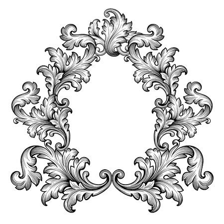 Ilustración de Vintage baroque frame scroll ornament engraving border retro pattern antique style decorative design element vector - Imagen libre de derechos