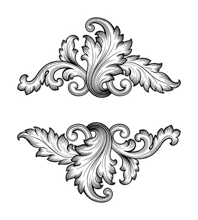 Illustration pour Vintage baroque frame scroll ornament engraving border retro pattern antique style swirl decorative design element filigree vector - image libre de droit