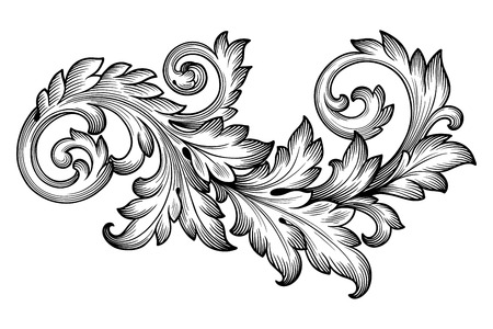 Ilustración de Vintage baroque frame scroll ornament engraving border floral retro pattern antique style acanthus foliage swirl decorative design element filigree calligraphy vector - Imagen libre de derechos