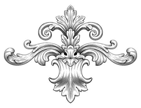 Illustration pour Vintage baroque frame leaf scroll floral ornament engraving border retro pattern antique style swirl decorative design element black and white filigree vector - image libre de droit