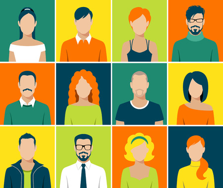 Ilustración de flat design avatar app icons set user face people man woman vector - Imagen libre de derechos