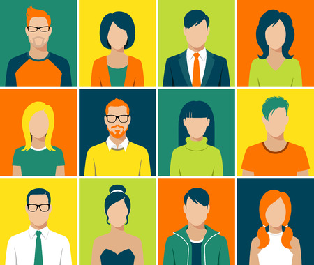Illustration for flat design avatar app icons set user face people man woman vector - Royalty Free Image