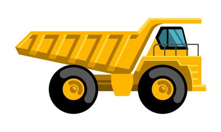 Illustrazione per Mining dump truck tipper big heavy yellow car flat design vector icon - Immagini Royalty Free