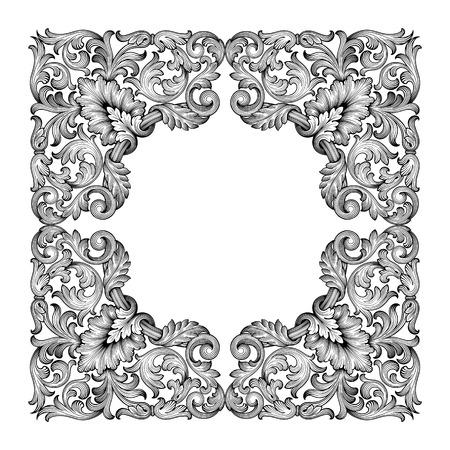 Ilustración de Vintage baroque frame leaf scroll floral ornament engraving border retro pattern antique style swirl decorative design element black and white filigree vector - Imagen libre de derechos
