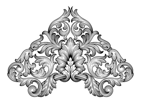 Ilustración de Vintage baroque frame corner leaf scroll floral ornament engraving border retro pattern antique style swirl decorative design element black and white filigree vector - Imagen libre de derechos
