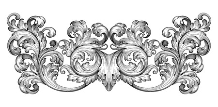 Photo for Vintage baroque frame leaf scroll floral ornament engraving border retro pattern antique style swirl decorative design element black and white filigree vector - Royalty Free Image