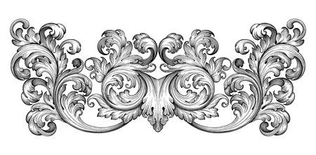 Illustration pour Vintage baroque frame leaf scroll floral ornament engraving border retro pattern antique style swirl decorative design element black and white filigree vector - image libre de droit