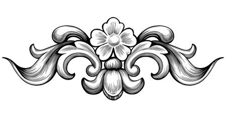 Illustration pour Vintage baroque floral scroll foliage ornament filigree engraving retro style design element vector - image libre de droit