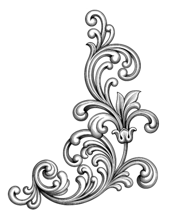 Illustration pour Vintage Baroque Victorian frame border monogram floral ornament leaf scroll engraved retro flower pattern decorative design tattoo black and white filigree calligraphic vector heraldic shield swirl - image libre de droit
