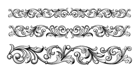 Illustration pour Vintage Baroque Victorian frame border monogram floral ornament leaf scroll engraved retro flower pattern decorative design tattoo filigree calligraphic vector heraldic shield swirl - image libre de droit