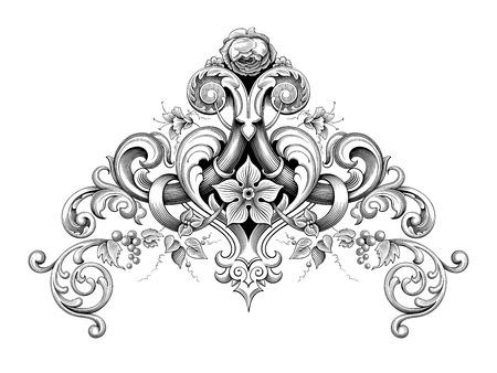 Illustration for Vintage Baroque Victorian frame border corner monogram floral ornament leaf scroll engraved retro flower pattern decorative design tattoo black and white filigree calligraphic vector heraldic shield - Royalty Free Image