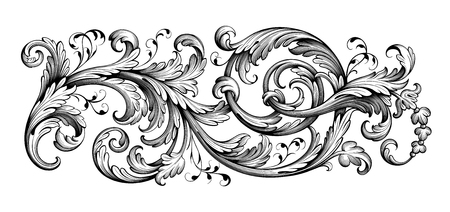 Illustration for Vintage Baroque Victorian frame border tattoo floral ornament leaf scroll engraved retro flower pattern decorative design tattoo black and white filigree calligraphic vector heraldic swirl - Royalty Free Image