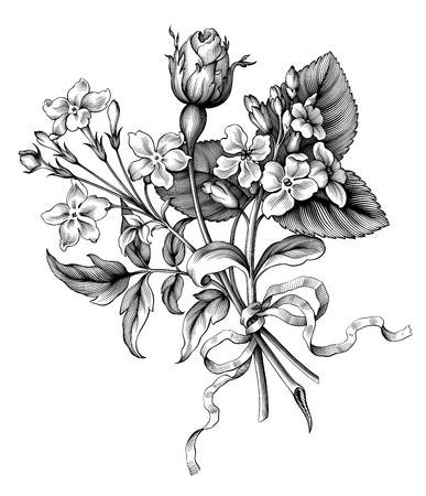 Illustration pour Rose flowers vintage Baroque Victorian garden wild floral ornament frame border bouquet scroll bunch engraved retro decorative tattoo black and white filigree vector - image libre de droit