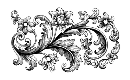 Illustration pour Flower vintage scroll Baroque Victorian frame border rose peony floral ornament leaf engraved retro pattern decorative design tattoo black and white filigree calligraphic vector - image libre de droit