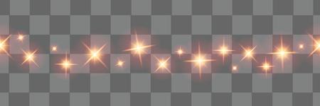 Ilustración de Christmas lights isolated  design elements. Glowing lights for Xmas Holiday greeting card design.  Christmas decorations.Christmas stars.Vector seamless horizontal objects.  - Imagen libre de derechos