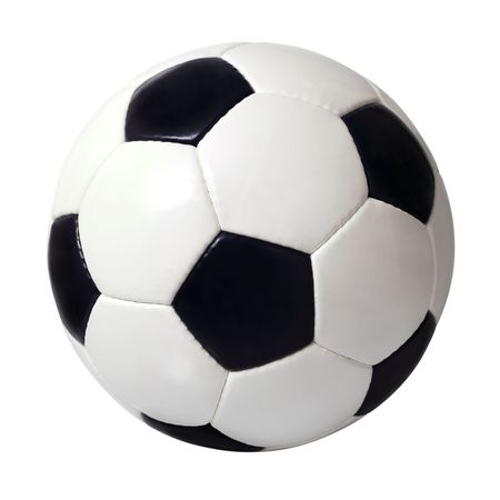 An isolated image of a leather soccer ball.