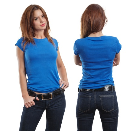 Photo pour Young beautiful brunette female with blank blue shirt, front and back.  - image libre de droit
