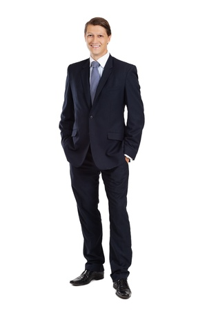Photo for  an attractive businessman smiling over a white background. - Royalty Free Image