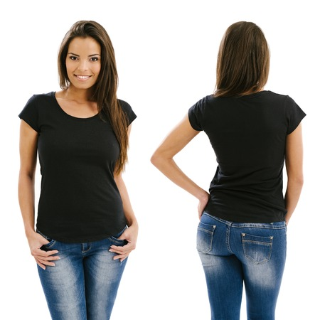 Photo for Young beautiful sexy female with blank black shirt, front and back. Ready for your design or artwork.  - Royalty Free Image