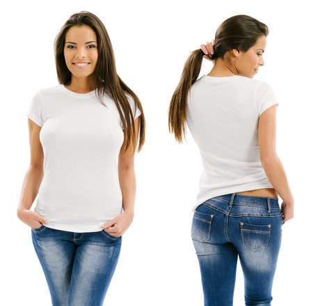 Foto de Young beautiful sexy female with blank white shirt, front and back  Ready for your design or artwork  - Imagen libre de derechos