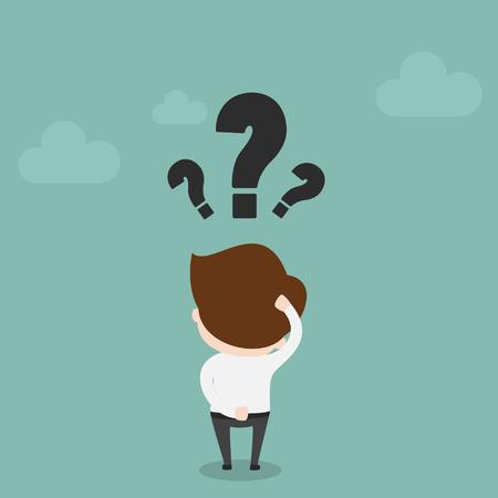 Illustration pour Businessman with question mark over his head,Vector EPS10. - image libre de droit