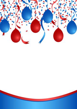 Ilustración de American patriotic confetti and balloons banner - Imagen libre de derechos