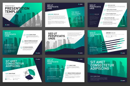 Ilustración de Business presentation templates with infographic elements. Use for ppt layout, presentation background, brochure design, website slider, corporate report. - Imagen libre de derechos