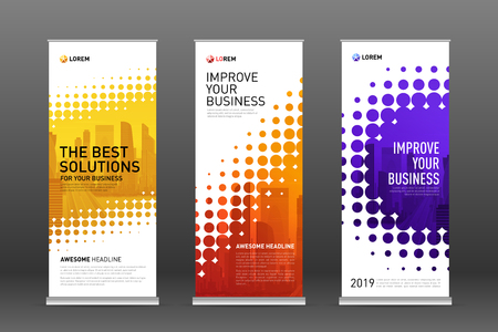 Illustration for Construction roll up banners design templates set. Vertical banner for event with skyscrapers vector illustration on background. - Royalty Free Image