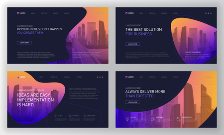 Photo pour Landing page templates set for business website. Modern web page design concept layout for website. Vector illustration. Brochure cover, banner, slide. - image libre de droit