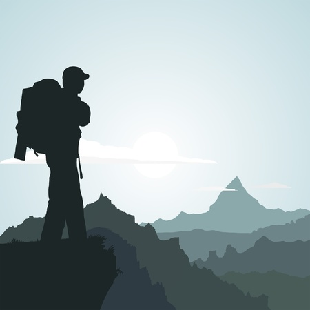 Illustration pour Hiking man with rucksack in mountain in the morning - image libre de droit
