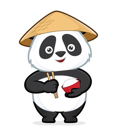 Illustration pour Panda holding a bowl of rice and chopsticks - image libre de droit