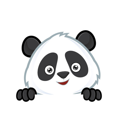 Illustration pour Panda holding and looking over a blank sign board - image libre de droit