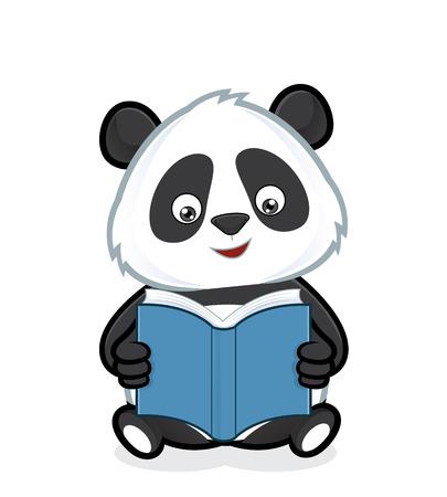 Illustration pour Panda reading a book - image libre de droit