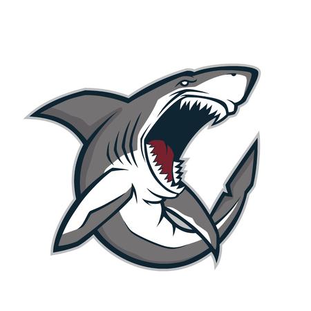 Ilustración de Angry shark mascot - Imagen libre de derechos