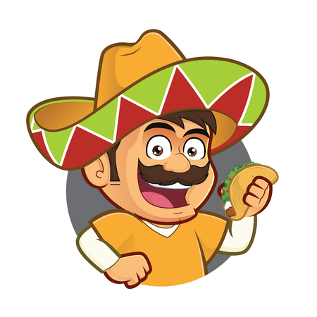 Illustration for Mexican man holding a taco in round frame - Royalty Free Image