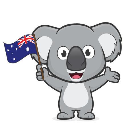 Illustration for Koala holding australian flag - Royalty Free Image