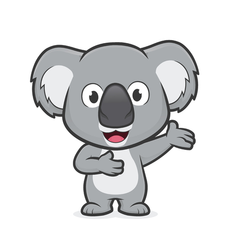 Ilustración de Cartoon illustration of Koala in welcoming gesture - Imagen libre de derechos