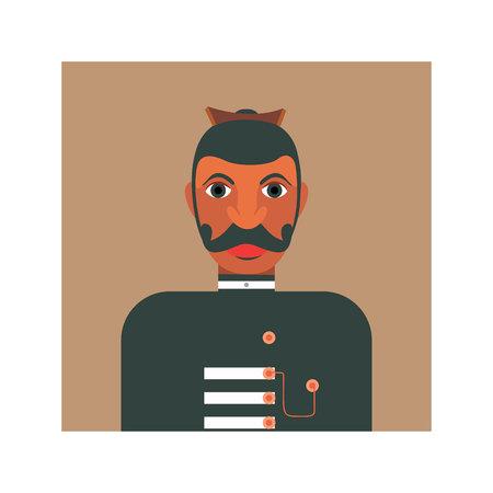 Ilustración de Illustration of a native headmen of Ceylon in colonial uniform - Imagen libre de derechos