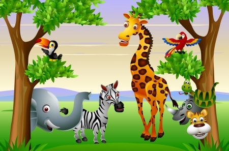 Photo for Funny safari animal cartoon  - Royalty Free Image