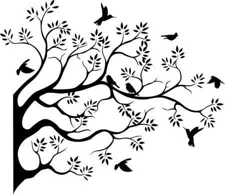 Illustration for beautiful tree silhouette with bird flying - Royalty Free Image