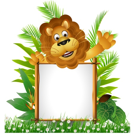 lion cartoon with board