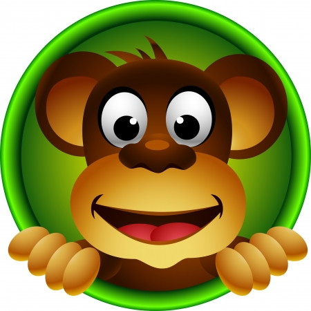 cute monkey head cartoon