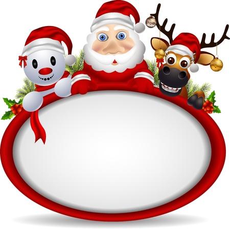 cartoon santa claus ,deer and snowman with blank sign