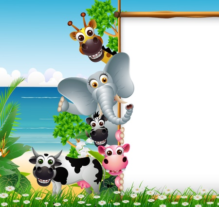 Photo for Wild African animal cartoon with blank sign and beach background - Royalty Free Image
