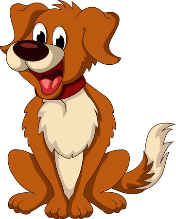 cute dog cartoon sitting
