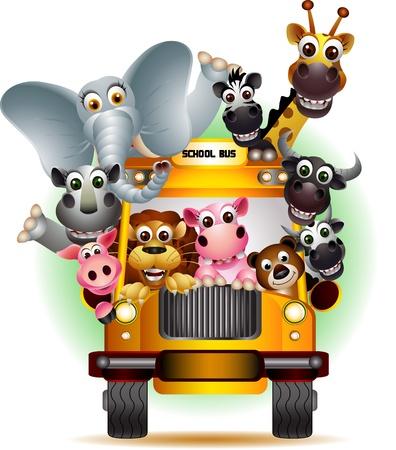 funny animal on yellow school bus